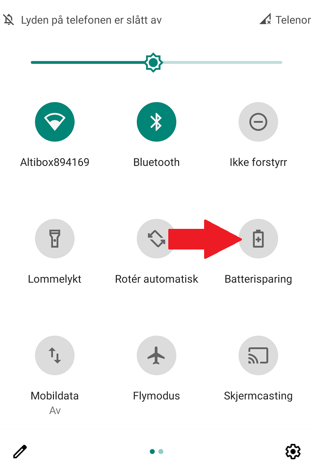 Kontrollpanel på Android Batterisparing 1